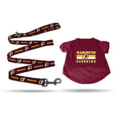 Officially Licensed NFL Small Pet T-Shirt with 4' Leash - Redskins