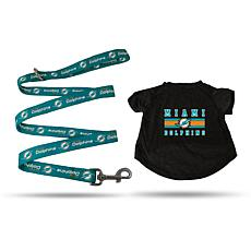 Officially Licensed NFL Small Pet T-Shirt with 4' Leash - Dolphins
