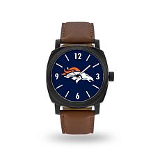 "Officially Licensed NFL Sparo ""Knight"" Faux Leather Watch - Broncos"