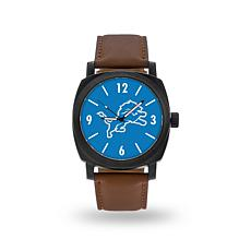 "Officially Licensed NFL Sparo ""Knight"" Faux Leather Watch - Lions"