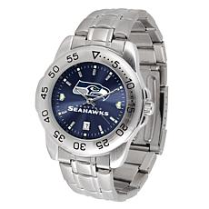 Officially Licensed NFL Sports Steel Watch - Seattle Seahawks