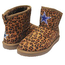 Officially Licensed NFL Women's Leopard-Print Bling Boot by Love Cuce