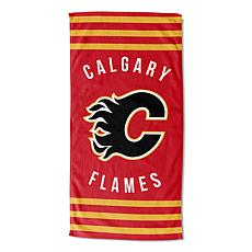 Officially Licensed NHL 620 Flames Stripes Beach Towel