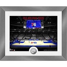 Officially Licensed Philadelphia 76ers Art Deco Silver Coin Photo Mint