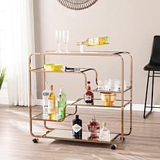 Oliana Art Deco Mirrored Bar Cart