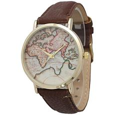 Olivia Pratt Atlas Brown Faux Leather Strap Watch