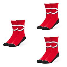 Optimum Fulfillment Cincinnati Reds MLB 3-Pack Arena Crew Socks