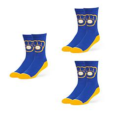 Optimum Fulfillment Milwaukee Brewers MLB 3-Pack Arena Crew Socks