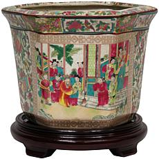 "Oriental Furniture 10"" Rose Medallion Flower Pot"