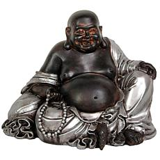 "Oriental Furniture 7"" Sitting Lucky Buddha Statue"