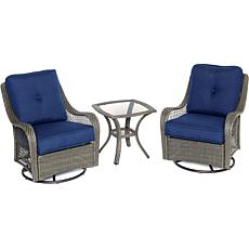 Orleans 3pc Gray Swivel Rocking Chat Set - Navy Blue