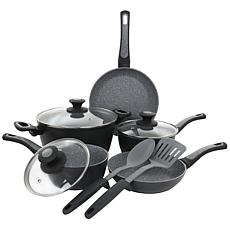 Oster 10-piece Nonstick Aluminum Cookware Set - Black and Gray Speckle
