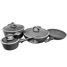 Oster Caswell 7 Piece Aluminum Cookware Set in Grey Marble