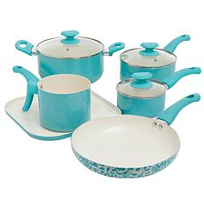 Oster Cocina Santa Fe 9 Piece Cookware Set in Turquoise Speckle