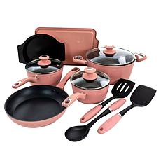 Oster Lynhurst 12pc Nonstick Aluminum Cookware Set with Tools - Pink