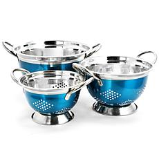 Oster Metaline 3 Pack Round Colander, Metallic Turquoise