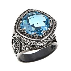 Ottoman Cushion-Cut 7.8ctw Blue Topaz Sterling Silver Filigree Ring