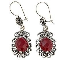 Ottoman Raspberry Corundum Leaf Design Sterling Silver Drop Earrings