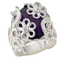Ottoman Silver Bold Gemstone Wrapped Filigree Ring
