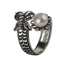 Ottoman Silver Cultured Pearl Filigree Bypass Ring