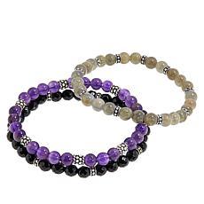 Ottoman Silver Gemstone Bead Set of 3 Stretch Bracelets