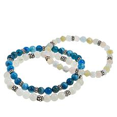 Ottoman Silver Gemstone Bead Set of 3 Stretch Bracelets