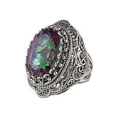 Ottoman Silver Gemstone Double-Layer Filigree Heart Ring