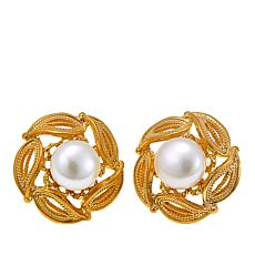Ottoman Silver Goldtone Cultured Freshwater Pearl Blossom Earrings