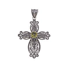 Ottoman Silver Jewelry 1.8ct Lemon Quartz Cross Pendant