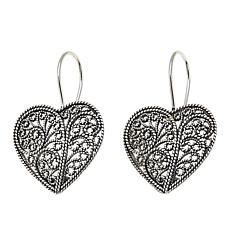 Ottoman Silver Jewelry Collection Filigree Heart Drop Earrings