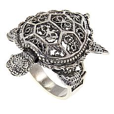 Ottoman Silver Jewelry Collection Filigree Moving Turtle Ring