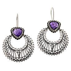 Ottoman Silver Jewelry Gemstone Crescent Moon Drop Earrings