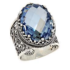 Ottoman Silver Oval Quartz Filigree Ring