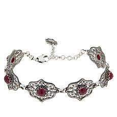 Ottoman Silver Sterling Silver Ruby Filigree Station Bracelet