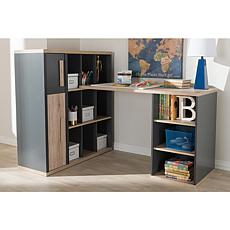 Pandora Two-Tone Study Desk with Built-In Shelving Unit