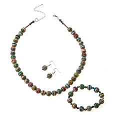 Paper Beads by Janice Mae 3-piece Marbleized Paper Bead Jewelry Set