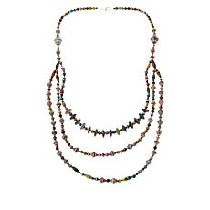 "Paper Beads by Janice Mae 30"" Multi-Color 3-Row Necklace"