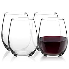 Pasabahce Amber 4 Piece Stemless Wine Glass Set