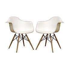 Pascal White Molded Plastic Chairs - Set of 2