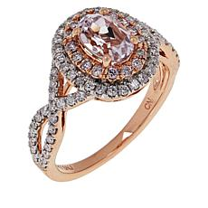 Passport to Gems 14K Gemstone and Diamond Double Halo Ring