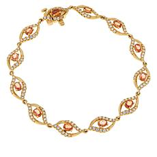 Passport to Gems 14K Gold Padparadscha Sapphire and Gem Bracelet