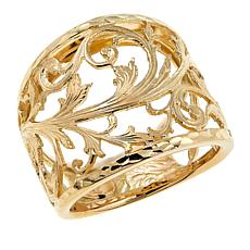 Passport to Gold 14K Yellow Gold Swirl-Design Wide-Band Ring