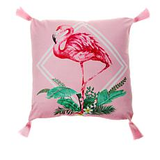 "Patricia Altschul Luxe Flamingo Printed 20"" x 20"" Pillow"