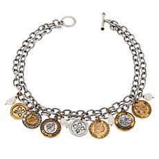 "Patricia Nash 18"" World Coin Double-Row Dangle Necklace"