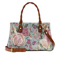 Patricia Nash Angela Leather Crackled Rose Garden Satchel