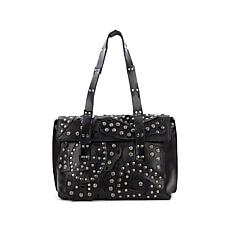 Patricia Nash Asti Studded Leather Flap Satchel