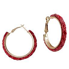 Patricia Nash Carlotta Braided Leather Hoop Earrings