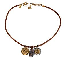 "Patricia Nash Charm Collection 18"" Braided Leather Cord Drop Necklace"