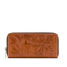 Patricia Nash Lauria Leather Zip-Around Tooled Wallet