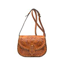 Patricia Nash Leather Nardini Tooled Saddle Bag